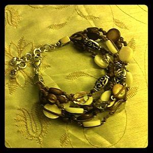 Multiple Strap Brown and White Brighton Bracelet
